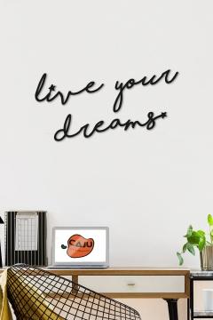 CajuArt Dekoratif Live Your Dreams Ahşap Duvar Tablo Modern Yazı Duvar Dekoru