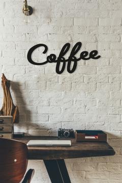 CajuArt Dekoratif Coffee Kahve Yazısı Ahşap Duvar Dekoru Tablo