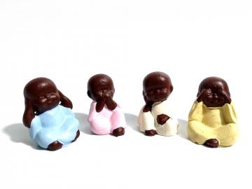 CajuArt Dekoratif Minyatür Dörtlü Buda Bebekleri Biblo Küçük Set