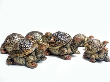 CajuArt Dekoratif Yedili Kaplumbağa Biblo Yedi Farklı Boy Set Süs