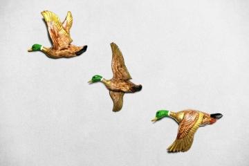CajuArt Dekoratif Büyük Boy Üçlü Ördek Set Duvar Süsü Duvar Dekoru