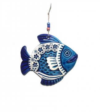CajuArt Dekoratif Orta Boy Seramik Balık Desenli Duvar Dekoru Süs