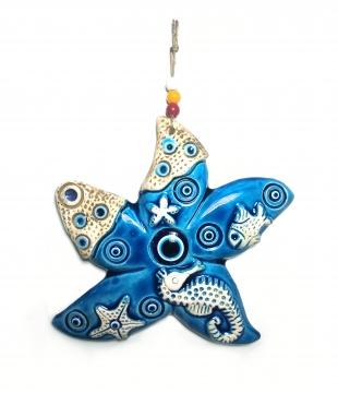 CajuArt Dekoratif Orta Boy Seramik Deniz Yıldızı Duvar Dekoru Süs