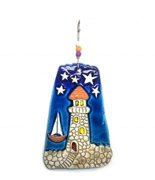 CajuArt Dekoratif Orta Boy Seramik Deniz Feneri Duvar Dekoru Süs