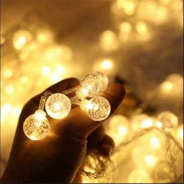 CajuArt 2|3|4|5 Metre Kristal Şeffaf Küre Süslü Pilli İp Led Işık Dekoratif Aydınlatma