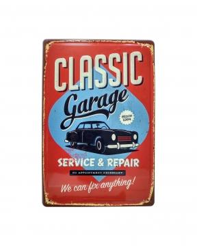 CajuArt Classic Garage Temalı 20x30 cm Metal Plaka Metal Tablo
