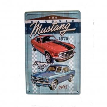 CajuArt Klasik Araba Mustang Temalı 20x30 cm Metal Plaka Metal Tablo