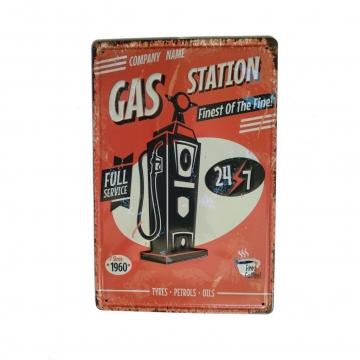 CajuArt Benzin İstasyonu Temalı 20x30 cm Metal Plaka Metal Tablo