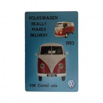 CajuArt Volkwagen Minibüs Resimli Metal Plaka 20x30 cm Metal Tablo