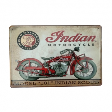 CajuArt Indıan Motorcycle Motosiklet Temalı 20x30 cm Retro Metal Plaka