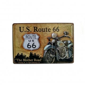 CajuArt Rota 66 Temalı 20x30 cm Metal Plaka Metal Tablo