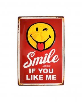 CajuArt Smile Emoji Temalı 20x30 cm Metal Plaka Metal Tablo