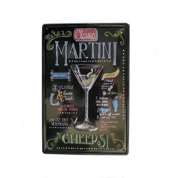 CajuArt Martini Temalı 20x30 cm Metal Plaka Metal Tablo