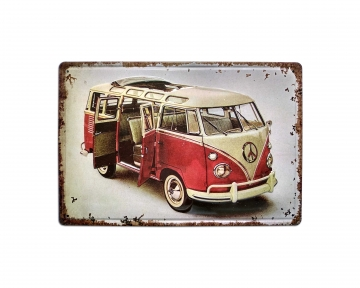 CajuArt Volkswagen Minibüs Tema 20x30 cm Metal Plaka Metal Tablo