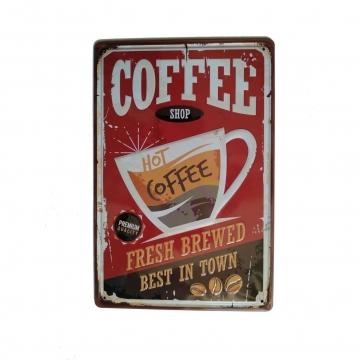CajuArt Kahve Dükkanı Temalı 20x30 cm Metal Plaka Metal Tablo