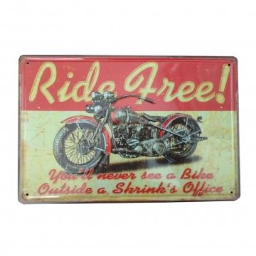 CajuArt Ride Free Motosiklet Temalı Metal Plaka 20x30 cm Metal Tablo