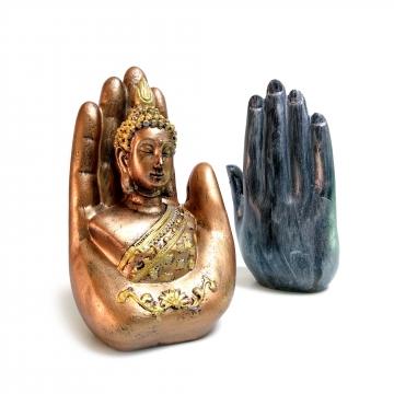 CajuArt Dekoratif 18 cm El İçinde Buda Heykeli Biblo Ev Ofis Süs