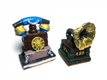 CajuArt İki Adet Retro Telefon Gramofon Eski Tip Biblo Set Hediye Süs