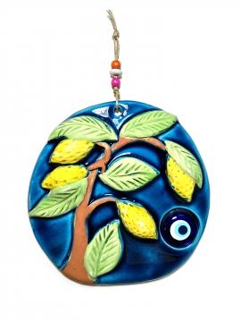 CajuArt Dekoratif Limon Ağacı Temalı Seramik Duvar Dekoru Süs Nazarlık