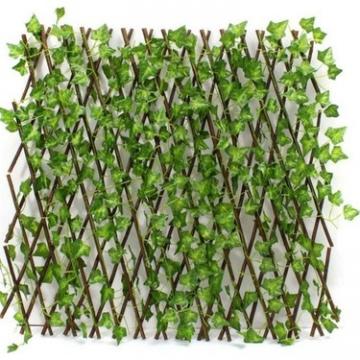 CajuArt Akordiyon Yapay Sarmaşık Yeşil Yapraklı Açılır Kapanır Çit Dekoratif Bahçe Balkon Çiti