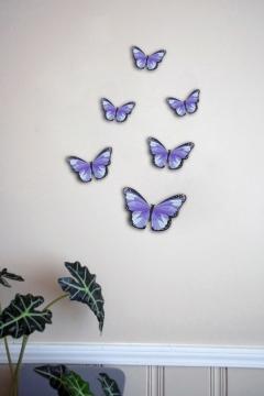 CajuArt Dekoratif Düz Mor Renk 6 Parça MDF Ahşap Kelebek Duvar Süsü Sticker