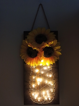CajuArt Yapay Ay Çiçeği Led Işıklı Ahşap Dizayn Duvar Dekoru Süs
