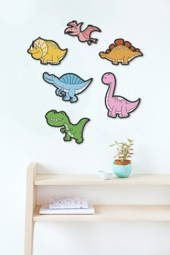CajuArt 6 Parça Ahşap Renkli Sevimli Dinazorlar Çocuk Odası Duvar Dekoru