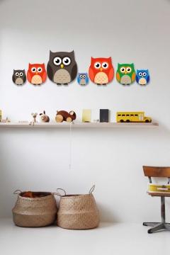 CajuArt Dekoratif 7 Parça Renkli Desenli Baykuş Ahşap Çocuk Odası Duvar Dekoru
