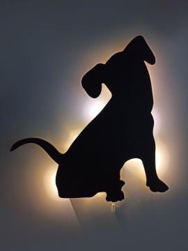 CajuArt Led Işıklı Oturan Köpek Siyah Ahşap Duvar Tablo Led Dekor