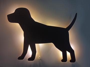 CajuArt Yürüyen Köpek Led Işıklı Siyah Ahşap Tablo Duvar Dekor