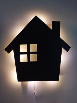 CajuArt Siyah Ev Şekilli Led Işıklı Ahşap Duvar Dekor Ahşap Tablo