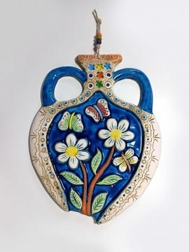 CajuArt Büyük Boy Çiçek Motifli Testi Şeklinde Seramik Duvar Süsü Dekor