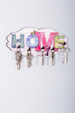 CajuArt Dekoratif Renkli Home Yazılı Ahşap Anahtarlık Hol Askı