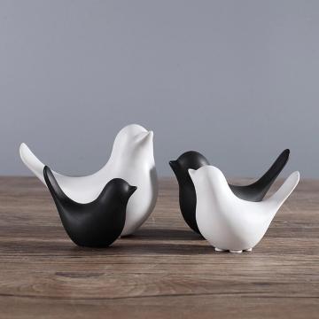 CajuArt İskandinav Tarz Dörtlü Kuş Biblo Siyah Beyaz Modern Süs Dekor