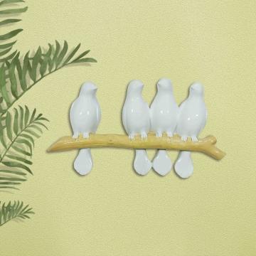 CajuArt Dekoratif Dal Üstünde Dört Kuş Ailesi Duvar Dekoru Biblo Süs