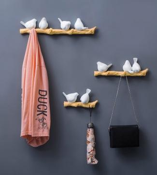 CajuArt Dekoratif Modern Duvar Askılık Dal Üstünde Tombul Kuşlar Duvar Dekoru Tekli İkili Üçlü Süs Anahtarlık Elbise Askı