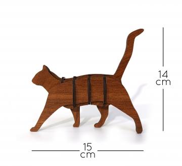 CajuArt Ahşap Minyatür Kedi 3D Puzzle Kendin Yap Biblo DIY