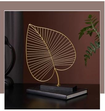 CajuArt Dekoratif Metal Kalın Altın Yaprak Modern Ferforje Masa Biblo Dekor