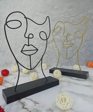 CajuArt Dekoratif Metal Sürrealist Model Biblo Ferforje İnsan Yüzü Dekor