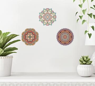 CajuArt 3 Adet Ahşap Renkli Mandala Duvar Dekoru Üçlü Set Duvar Tablo