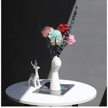 CajuArt İskandinav Tarz Modern Çiçek Tutan El Şekilli Vazo Saksı Ev Ofis Dekor