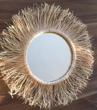 CajuArt Büyük Boy 45 cm Rafya Ayna El Yapımı Hasır Ayna Duvar Dekor