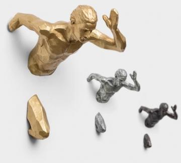 CajuArt Dekoratif Üç Boyutlu 3D Koşan Adam Duvar Dekor Biblo Spor Modern Ev Ofis Duvar Süsleme