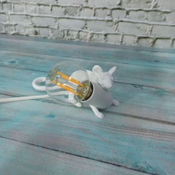 CajuArt Dekoratif Dört Ayak Hırsız Fare Led Masa Lambası Fare Biblo Ev Ofis Lamba Süs