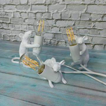 CajuArt Dekoratif Hırsız Fare Üçlü Led Masa Lambası Fare Biblo Ev Ofis Lamba Süs