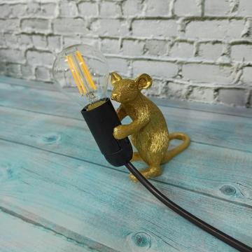 CajuArt Dekoratif Eğilmiş Hırsız Fare Led Masa Lambası Fare Biblo Ev Ofis Lamba Süs