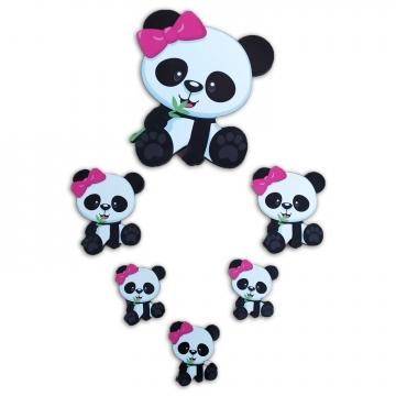 CajuArt 6 Parça Pembe Kız Panda Ahşap Sticker Yapıştırma Süs