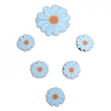 CajuArt 6 Parça Papatya Çiçek Ahşap Sticker Yapıştırma Dekor Süs
