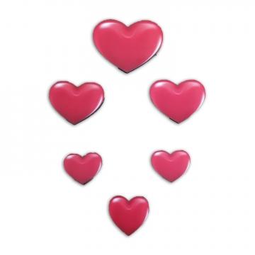 CajuArt 6 Parça Kırmızı Kalp Ahşap Sticker Yapıştırma Dekor Süs