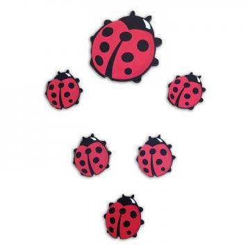 CajuArt 6 Parça Uğur Böceği Ahşap Sticker Yapıştırma Dekor Süs